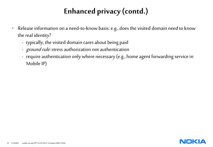 Enhanced privacy (contd.)