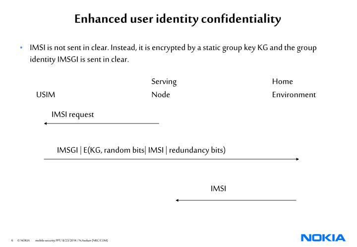 Enhanced user identity confidentiality