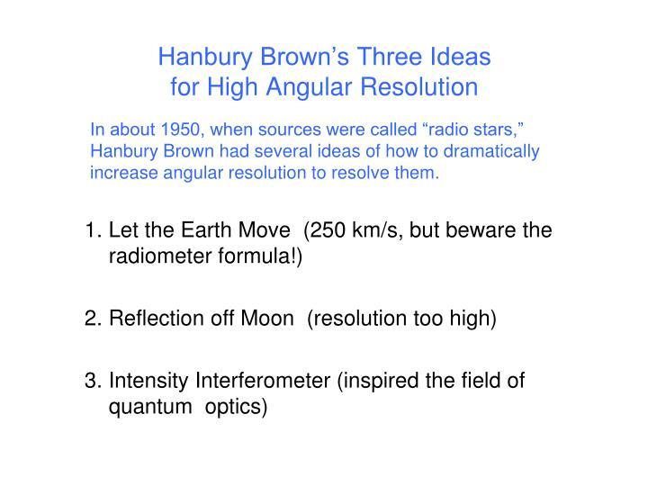 Hanbury Brown's Three Ideas