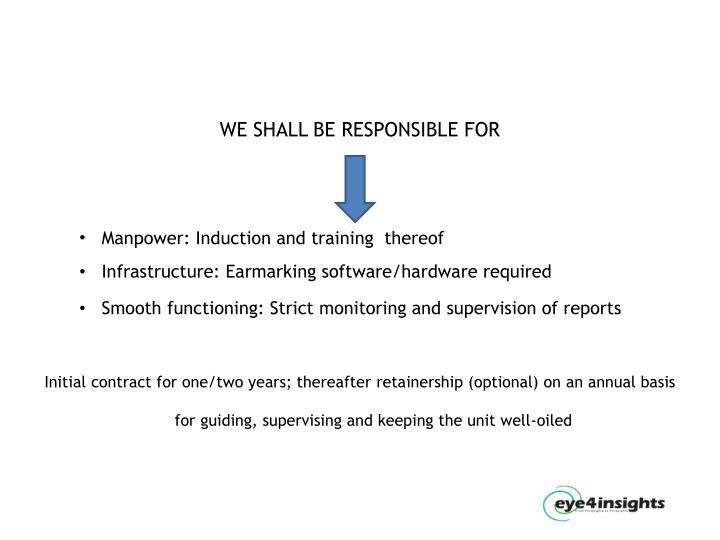 WE SHALL BE RESPONSIBLE FOR