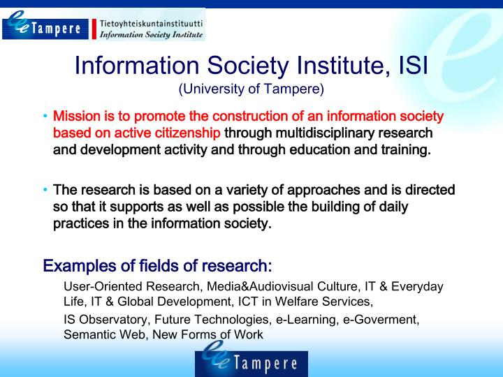Information Society Institute, ISI