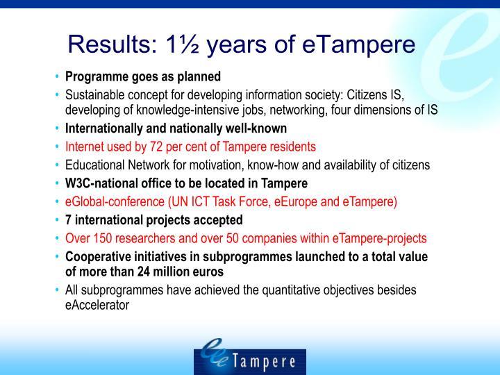 Results: 1½ years of eTampere