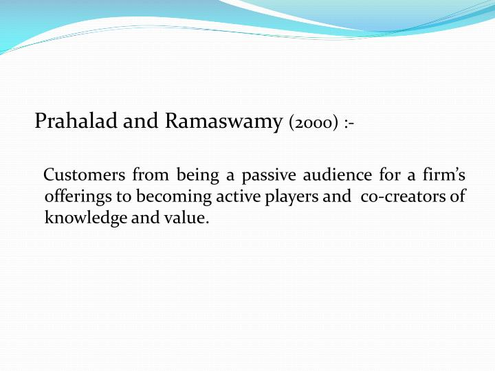Prahalad and Ramaswamy