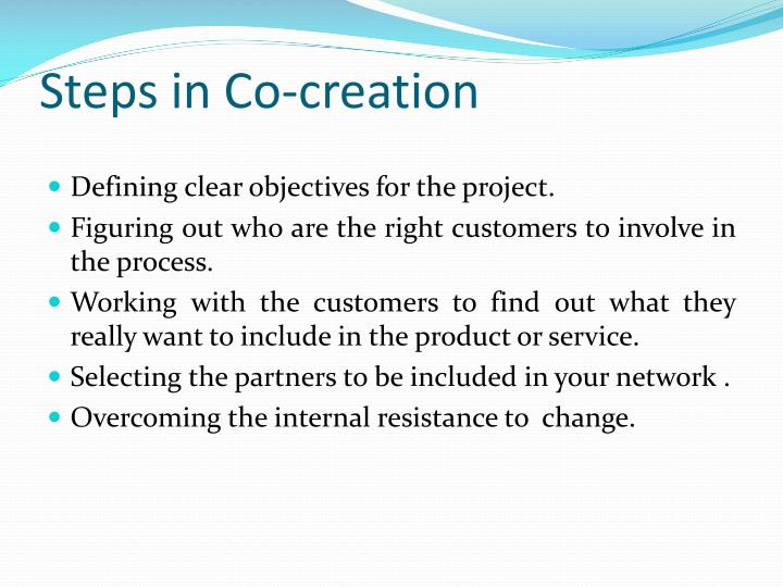 Steps in Co-creation
