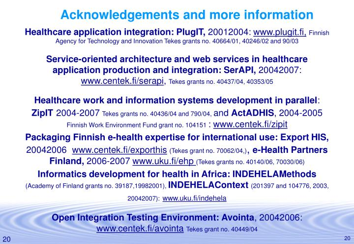 Acknowledgements and more information