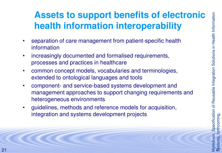 Assets to support benefits of electronic health information interoperability