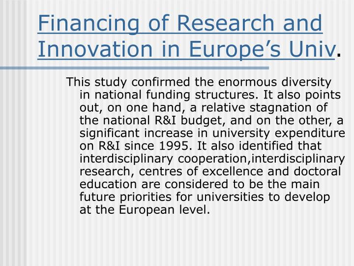 Financing of Research and Innovation in Europe's Univ