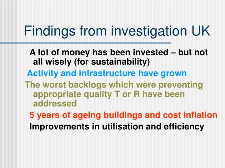 Findings from investigation