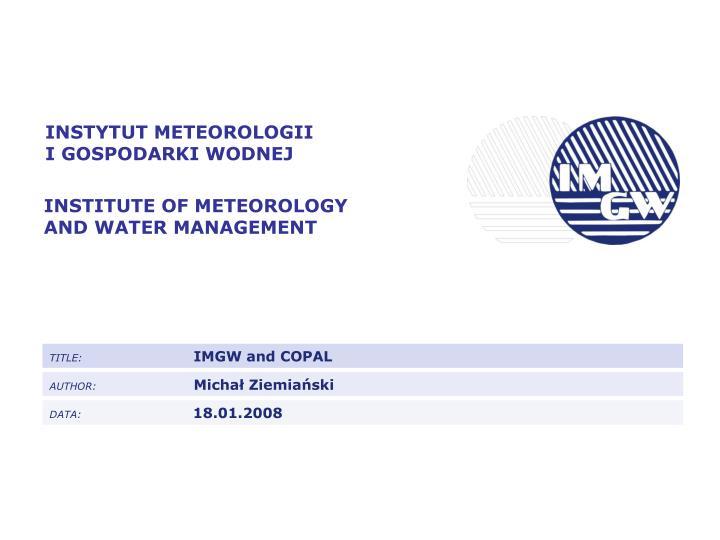 INSTYTUT METEOROLOGII
