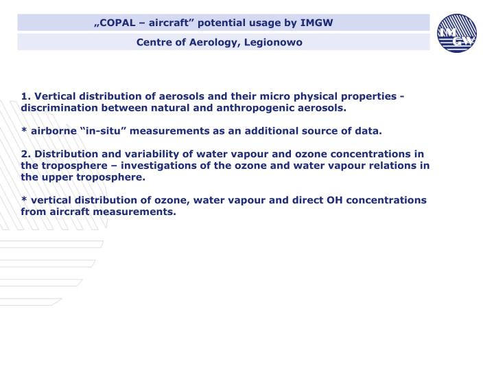 """""""COPAL – aircraft"""" potential usage by IMGW"""