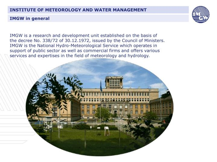 INSTITUTE OF METEOROLOGY AND WATER MANAGEMENT