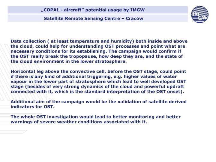 """""""COPAL - aircraft"""" potential usage by IMGW"""