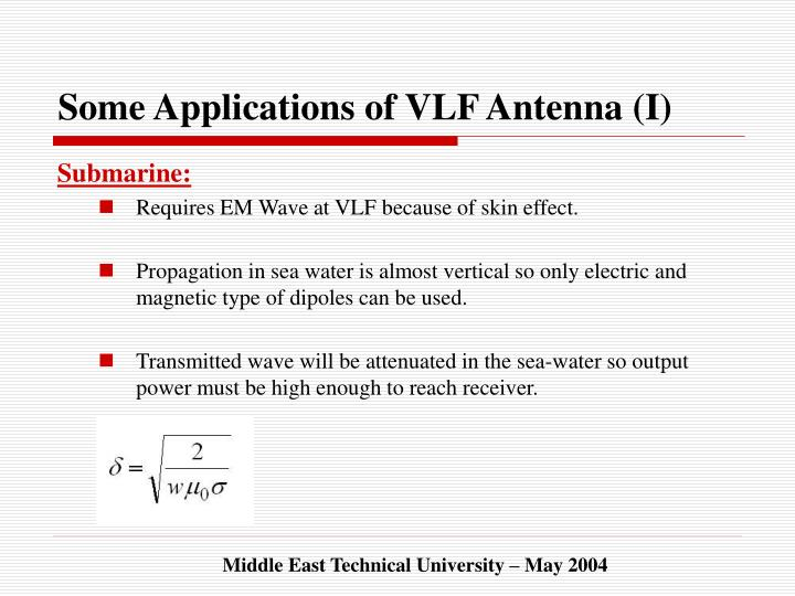 Some Applications of VLF Antenna (I)