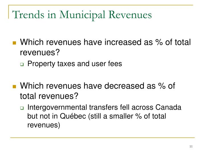 Trends in Municipal Revenues