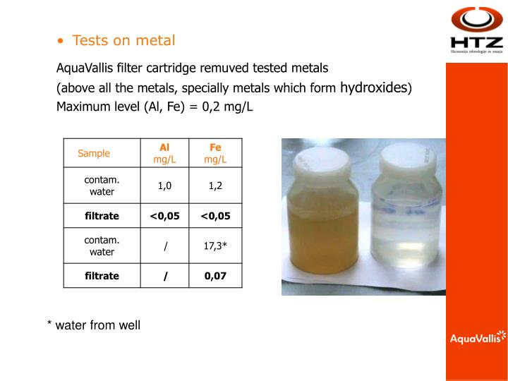 Tests on metal