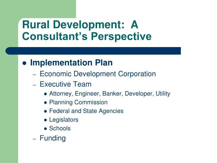 Rural Development:  A Consultant's Perspective