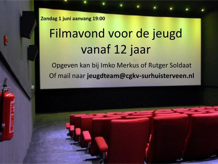 filmavond voor de jeugd vanaf 12 jaar n.