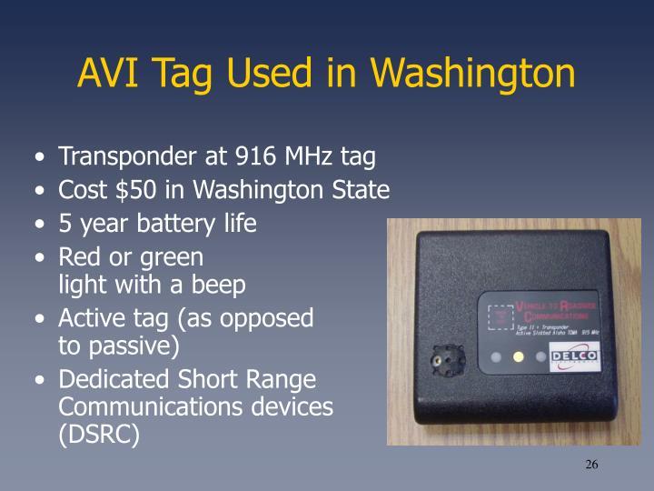 AVI Tag Used in Washington