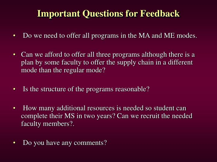 Important Questions for Feedback