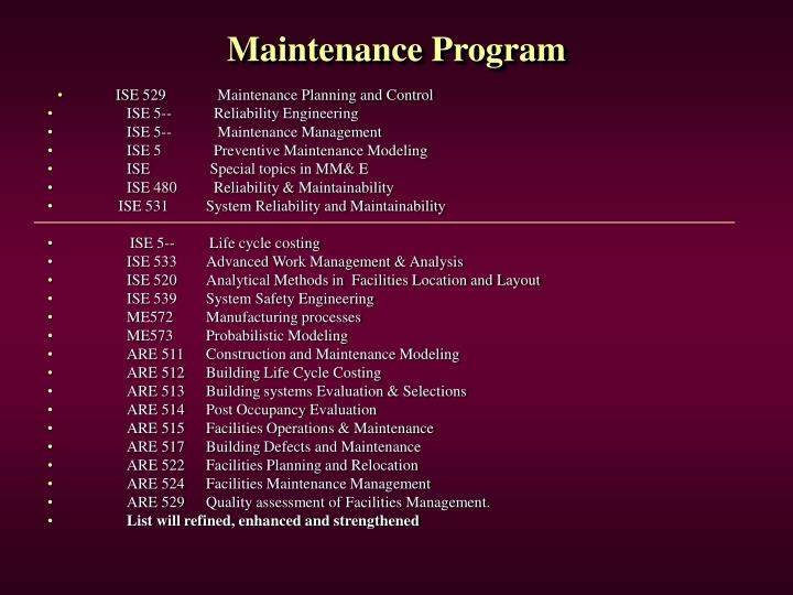Maintenance Program