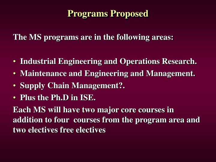 Programs Proposed