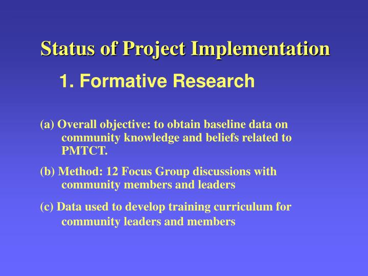 Status of Project Implementation
