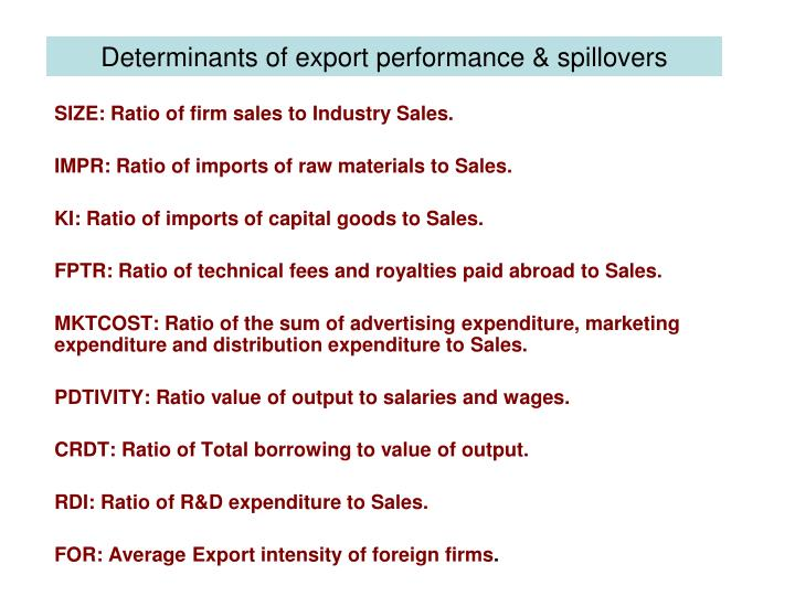 Determinants of export performance & spillovers