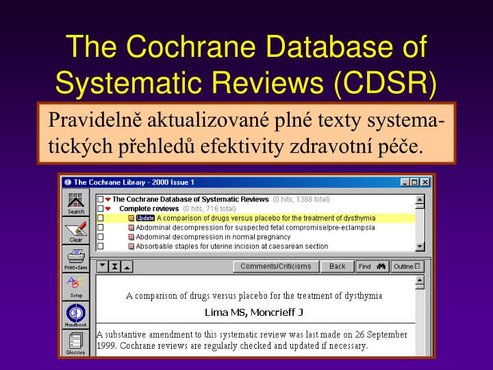 The Cochrane Database of Systematic Reviews (CDSR)