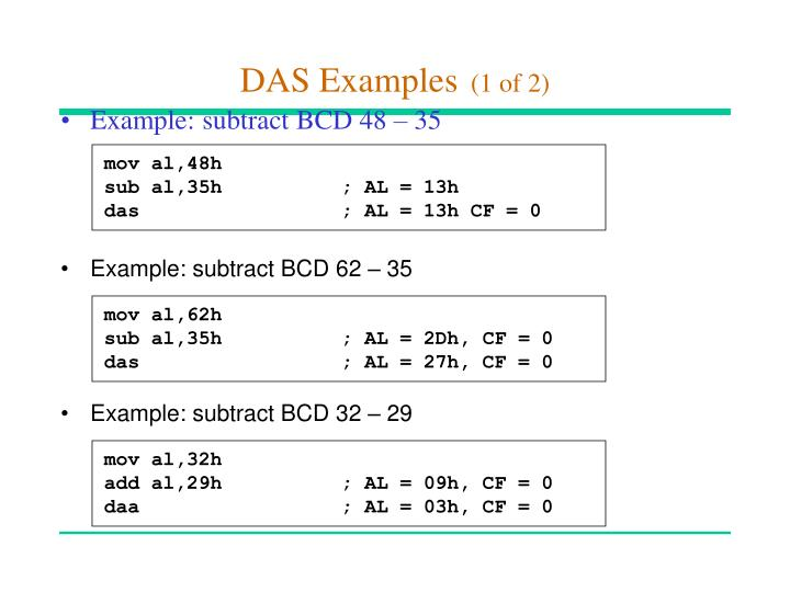 Example: subtract BCD 62 – 35