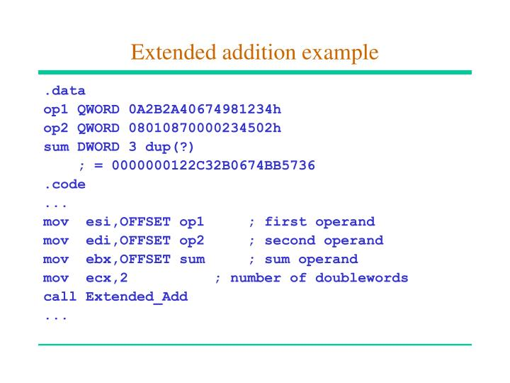 Extended addition example