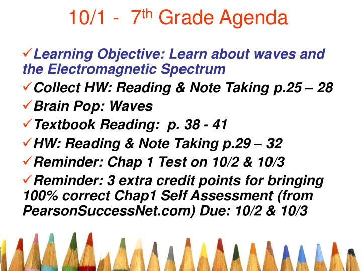 10 1 7 th grade agenda n.