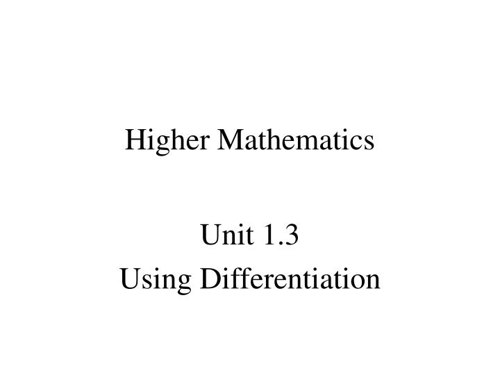 higher mathematics n.