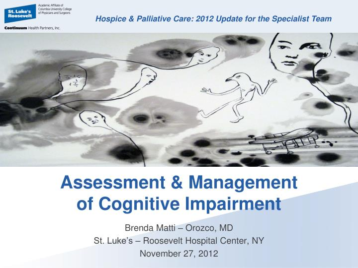 assessment management of cognitive impairment n.