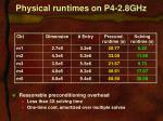 physical runtimes on p4 2 8ghz