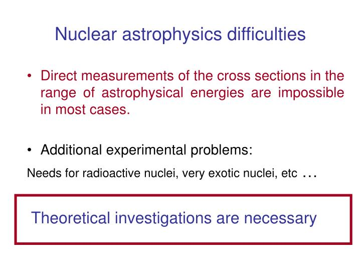 Nuclear astrophysics difficulties