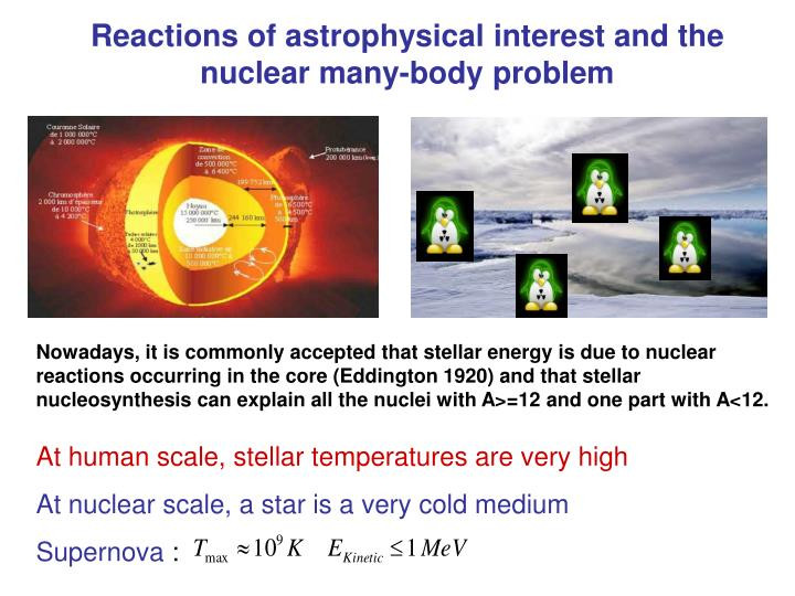 Reactions of astrophysical interest and the nuclear many-body problem