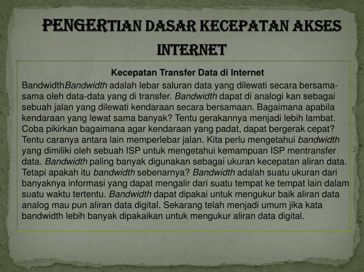 Penger tian dasar kecepatan akses internet