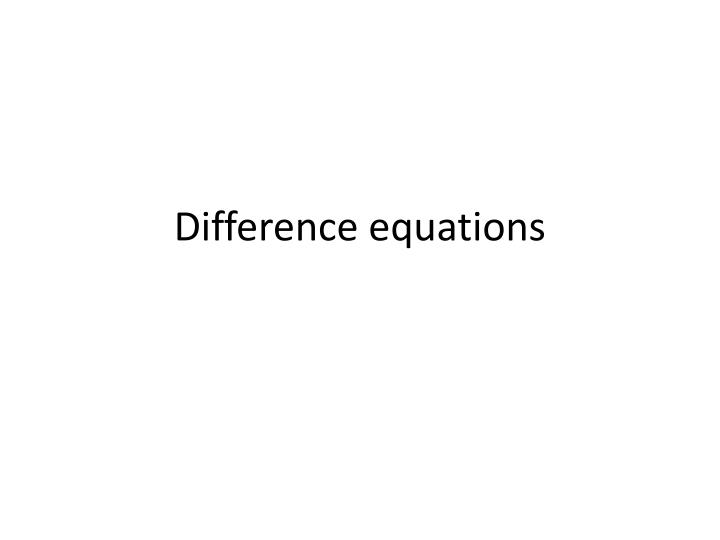 difference equations n.