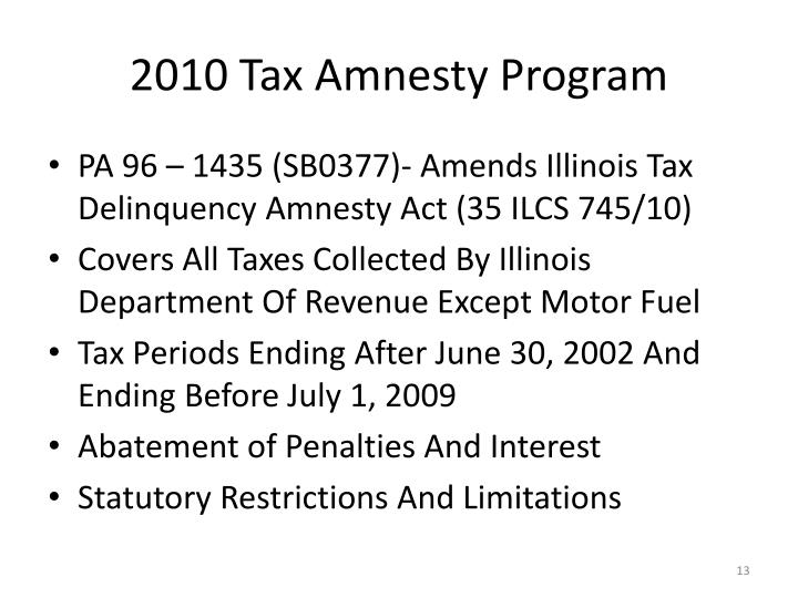 2010 Tax Amnesty Program