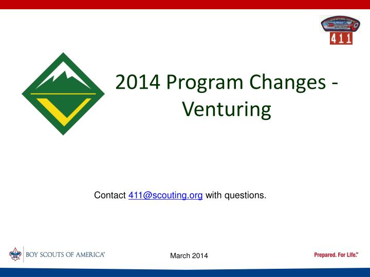 2014 program changes venturing n.