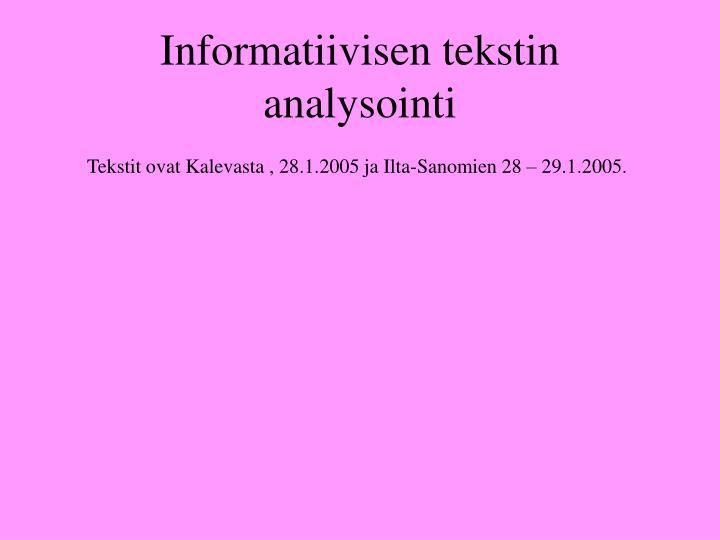 Tekstin Analysointi