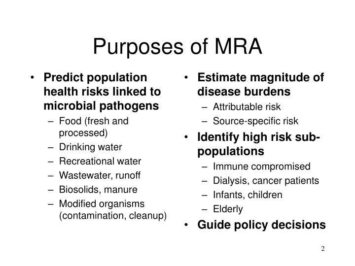 Purposes of mra