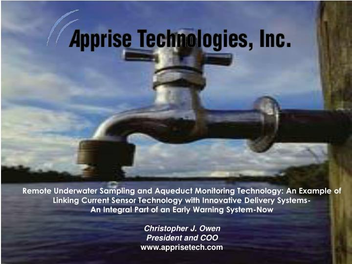Remote Underwater Sampling and Aqueduct Monitoring Technology: An Example of Linking Current Sensor ...