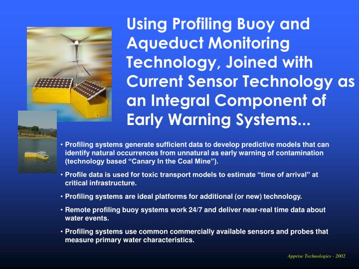 Using Profiling Buoy and Aqueduct Monitoring Technology, Joined with Current Sensor Technology as an Integral Component of
