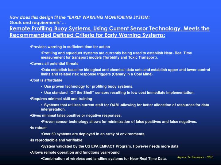 """How does this design fit the """"EARLY WARNING MONITORING SYSTEM:"""