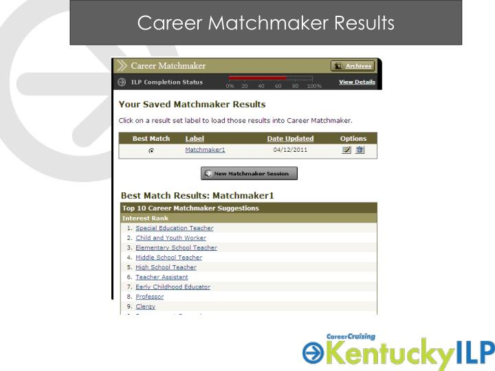 Career Matchmaker Results