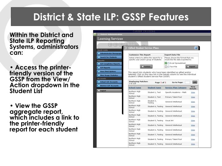 District & State ILP: GSSP Features
