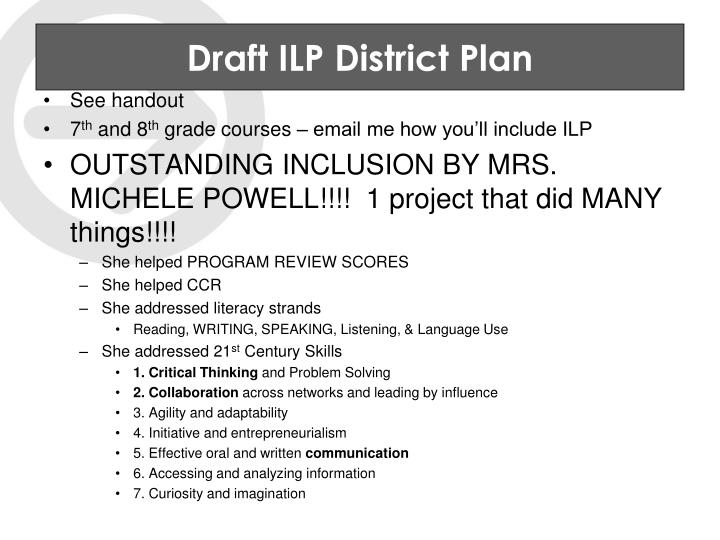 Draft ILP District Plan