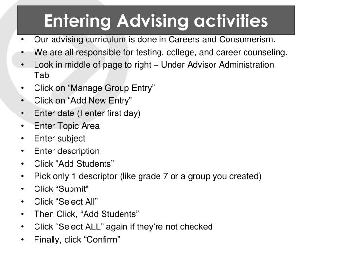 Entering Advising activities
