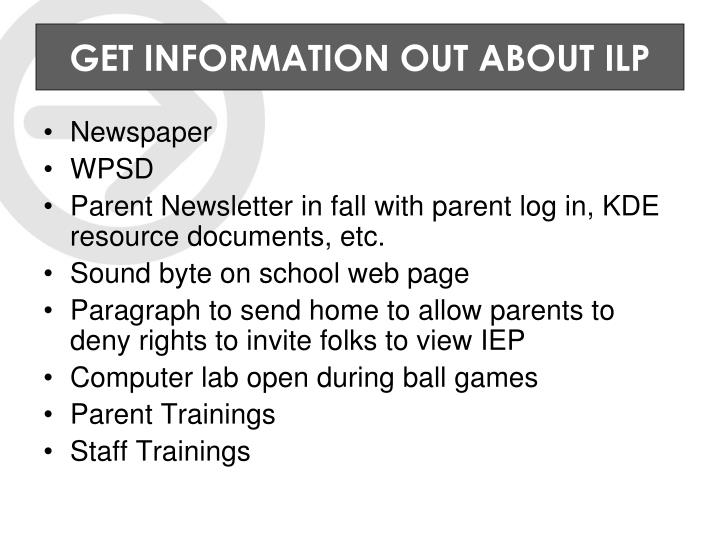 GET INFORMATION OUT ABOUT ILP